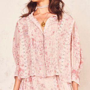 NWT LOVESHACKFANCY Tegan Silk Pink blouse S
